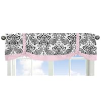 Sweet JoJo Designs Sophia Collection Black/White/Pink Window Curtain Valance