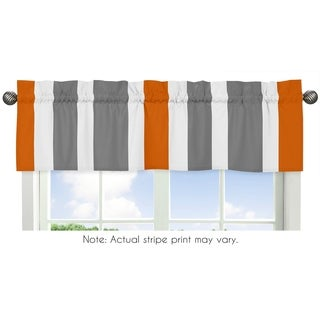 Sweet Jojo Designs Grey and Orange Stripe Collection Window Curtain Valance