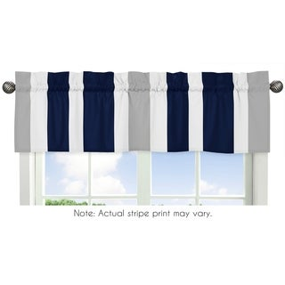 Sweet Jojo Designs Navy Blue and Gray Stripe Fabric 15-inch x 54-inch Window Curtain Valance