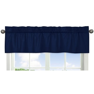 Sweet Jojo Designs Navy Blue and Grey Stripe Collection Solid Navy Blue Rod-pocket Window Valance
