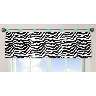 Sweet Jojo Designs Funky Zebra Collection Turquoise/Black/White Window Curtain Valance