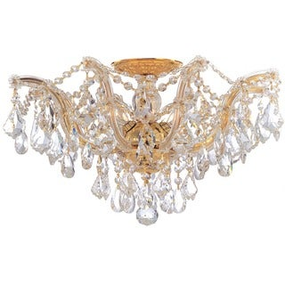 Crystorama Maria Theresa Collection 5-light Gold/Swarovski Strass Crystal Semi-Flush Mount