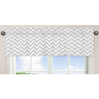 Sweet Jojo Designs Grey and Yellow Zigzag Collection Zigzag Print Window Curtain Valance