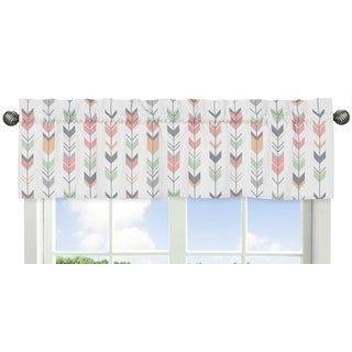 Sweet Jojo Designs Coral and Mint Mod Arrow Collection Window Curtain Valance