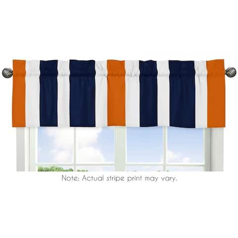 Sweet Jojo Designs Navy Blue and Orange Stripe Collection Window Curtain Valance
