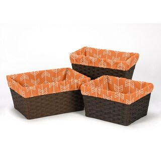 Sweet Jojo Designs Arrow Collection Orange/Navy Blue Brushed Microfiber Basket Liners