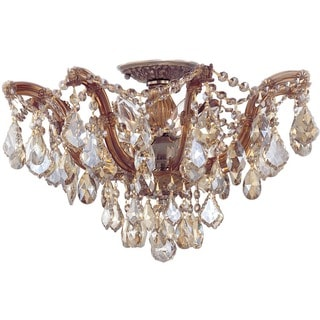 Crystorama Maria Theresa Collection 5-light Antique Brass/Golden Teak Crystal Semi-Flush Mount
