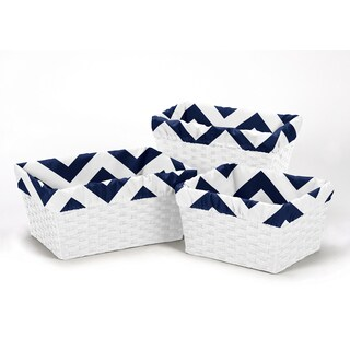 Sweet Jojo Designs Navy Blue and White Chevron Collection Basket Liners