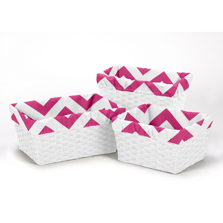 JoJo Designs Pink and White Chevron Collection Basket Lin...