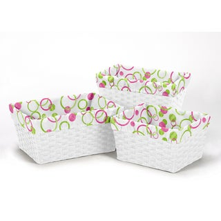 Sweet Jojo Designs Pink and Green Mod Circles Collection Basket Liners