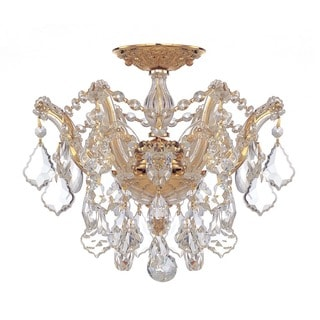 Crystorama Maria Theresa Collection 3-light Gold/Swarovski Spectra Crystal Semi-Flush Mount