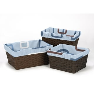 Sweet Jojo Designs Geo Collection Blue and Brown Cotton Basket Liners