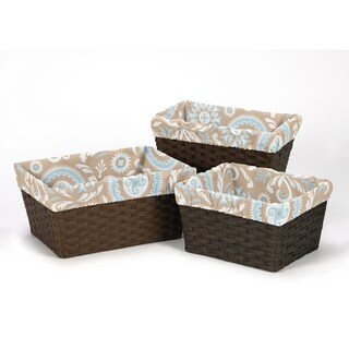 Sweet Jojo Designs Hayden Collection Blue and Taupe Cotton Basket Liners