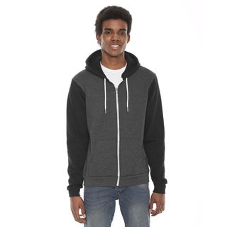 Unisex Flex Fleece Zip Dark Heather Grey/Black Hoodie(S, XL)