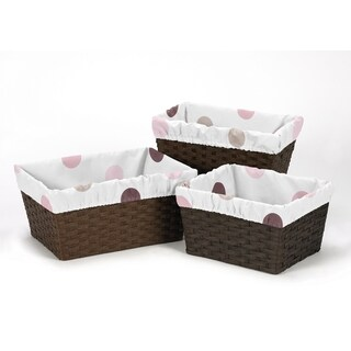 Sweet Jojo Designs Pink and Chocolate Mod Dots Collection Basket Liners