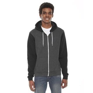 Unisex Flex Fleece Zip Dark Heather Grey/Black Hoodie