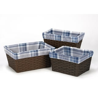 Sweet Jojo Designs Navy Blue and Gray Plaid Collection Basket Liners