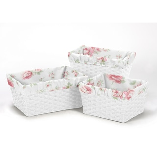 Sweet Jojo Designs Riley's Roses Collection Cotton Basket Liners