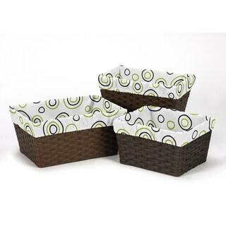Sweet Jojo Designs Spirodot Collection Lime Green/Black Cotton Basket Liners