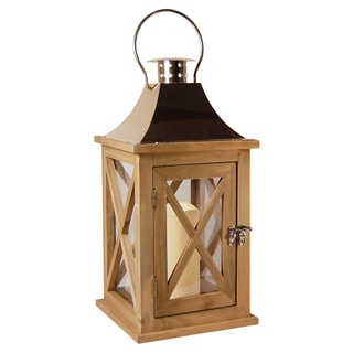 JH Specialties Inc. Natural Wood Lantern with 4-inch LED Candle with Copper Roof