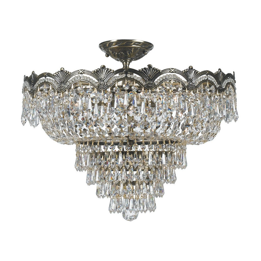 Shop Majestic 5 Light Historic Brass Crystal Semi Flush Mount Free Shipping Today Overstock 12402046