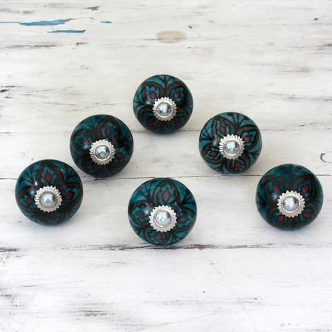 Handmade Set of 6 Ceramic 'Floral Helpers' Cabinet Knobs (India)