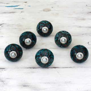 Set of 6 Handmade Ceramic 'Floral Helpers' Cabinet Knobs (India)
