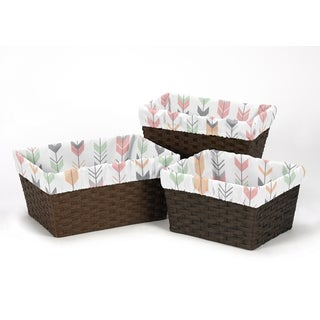 Sweet Jojo Designs Coral and Mint Mod Arrow Collection Basket Liners