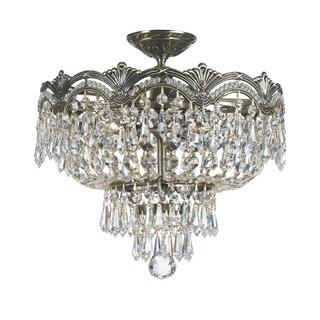 Crystorama Majestic Collection 3-light Historic Brass/Swarovski Strass Crystal Semi-Flush Mount