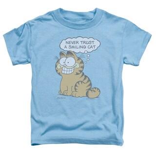 Garfield/Smiling Cat Short Sleeve Toddler Tee in Carolina Blue