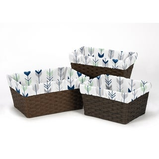 Sweet Jojo Designs Mod Arrow Collection Grey and Mint Microfiber Basket Liners