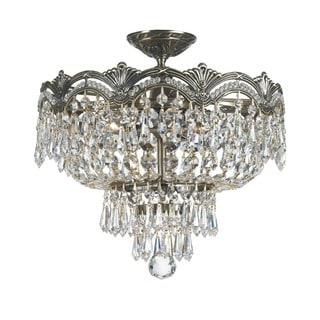 Crystorama Majestic Collection 3-light Historic Brass/Crystal Semi-Flush Mount