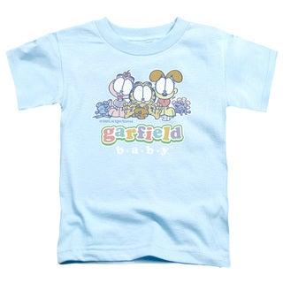 Garfield/Baby Gang Short Sleeve Toddler Tee in Light Blue