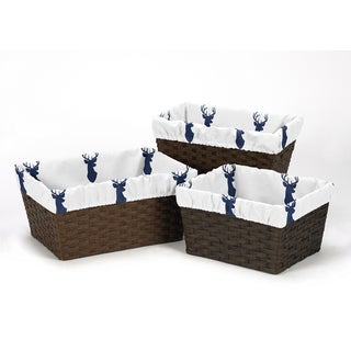 Sweet Jojo Designs Basket Liners for the Navy and White Woodland Deer Collection