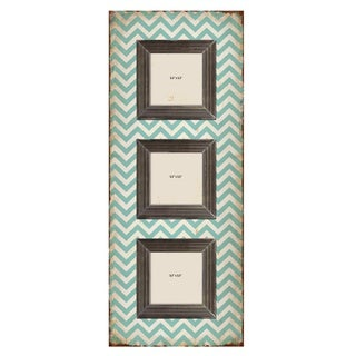 Shabby Chic Teal Chevron Three-slot Wood Picture Frame