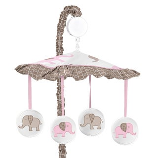Sweet Jojo Designs Pink and Taupe Mod Elephant Collection Musical Mobile
