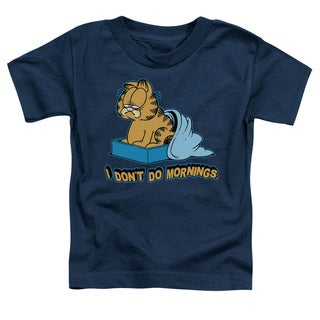 Garfield/I Don't Do Mornings Short Sleeve Toddler Tee in Navy