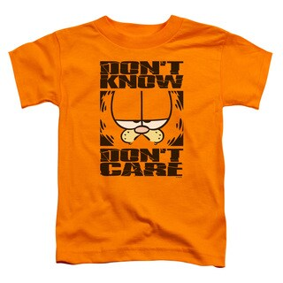 Garfield/Don't Know Don't Care Short Sleeve Toddler Tee in Orange