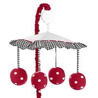 Sweet Jojo Designs Polka Dot Ladybug Collection Red/Black/White Plastic and Fabric Musical Mobile