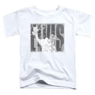 Elvis/Aloha Gray Short Sleeve Toddler Tee in White