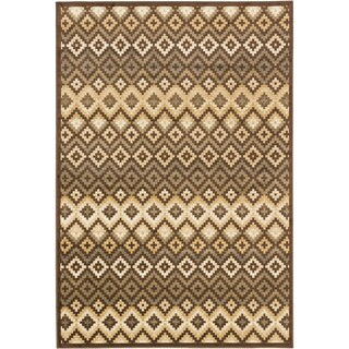 Athina Brown and Ivory Viscose Rug - 3'11 x 5'3