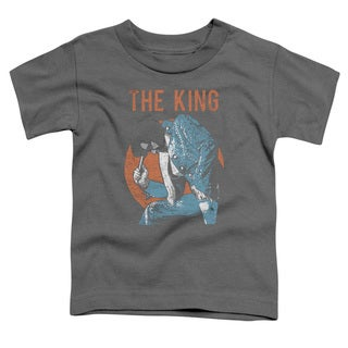 Elvis/Mic in Hand Short Sleeve Toddler Tee in Charcoal
