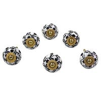 Set of 6 Handmade Ceramic 'Magical Blooms' Cabinet Knobs (India)