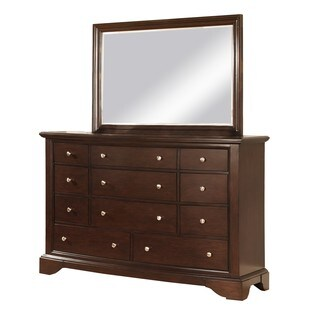 LYKE Home Cena Espresso 11-drawer Dresser and Mirror Set
