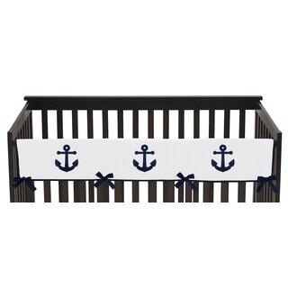 Sweet Jojo Designs Anchors Away Collection Long Crib Rail Guard Cover