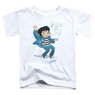 Elvis/Lil Jailbird Short Sleeve Toddler Tee in White