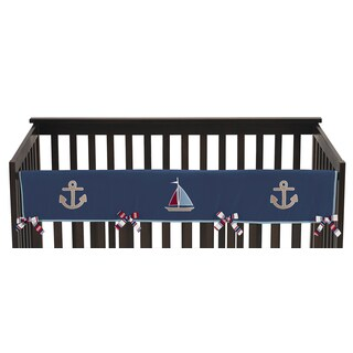 Sweet Jojo Designs Nautical Nights Collection Long Crib Rail Guard Cover
