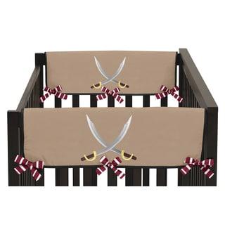Sweet Jojo Designs Pirate Treasure Cove Collection Side Crib Rail Guard Covers (Set of 2)