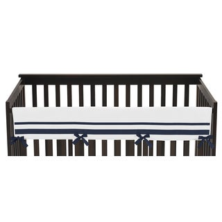 Sweet Jojo Designs White and Navy Hotel Collection Long Crib-rail Guard Cover