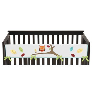 Sweet Jojo Designs Turquoise and Lime Hooty Collection Long Crib Rail Guard Cover
